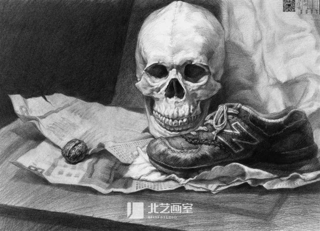 素描静物——骷髅头、鞋子、核桃、纸组合训练作品