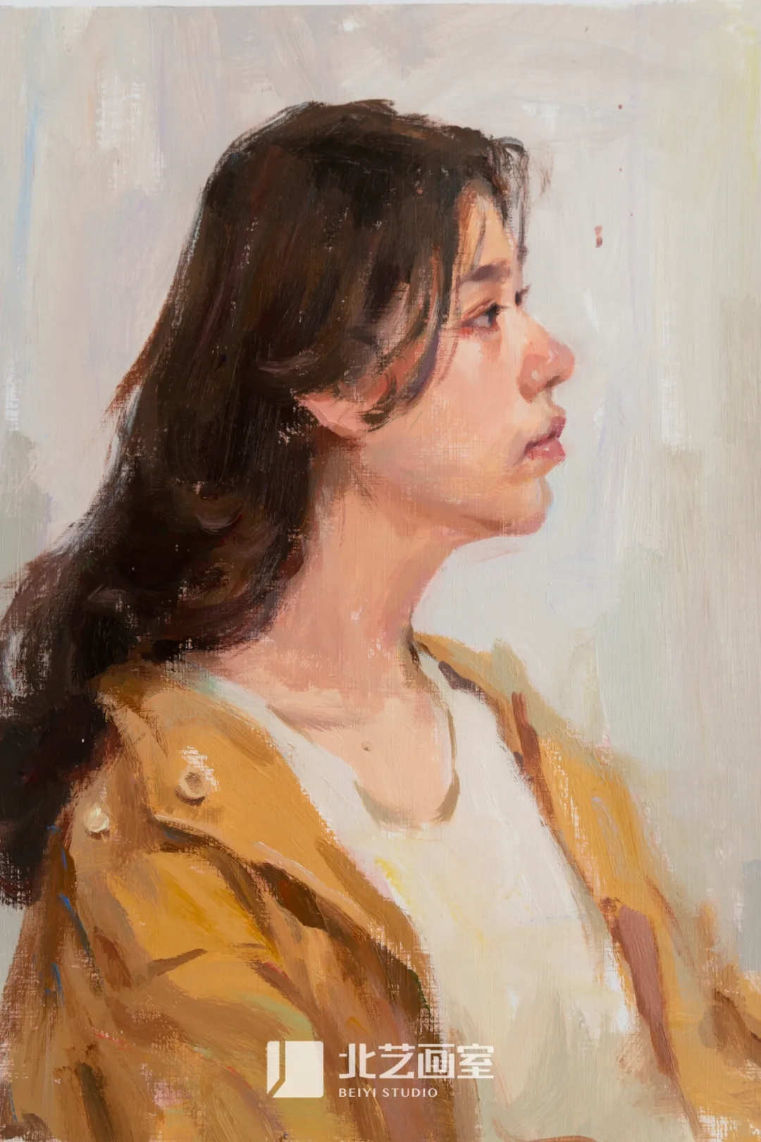 穿黄色外套侧面女青年色彩头像