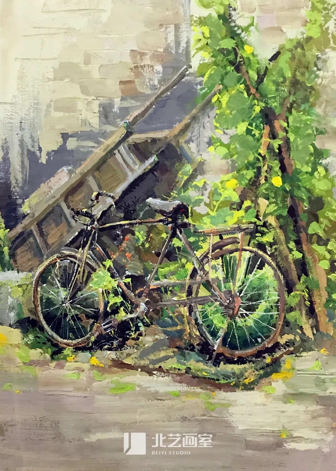 色彩风景作品赏析——自行车、小树