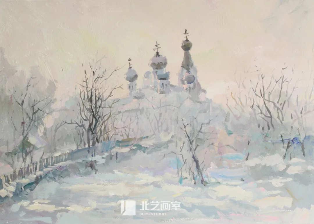 色彩风景作品赏析——雪中城堡