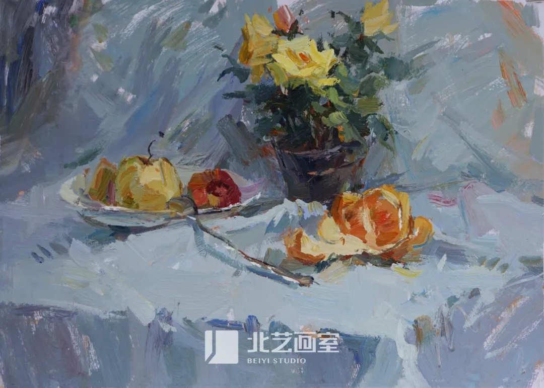 色彩静物作品赏析——水果、花盆、钢勺