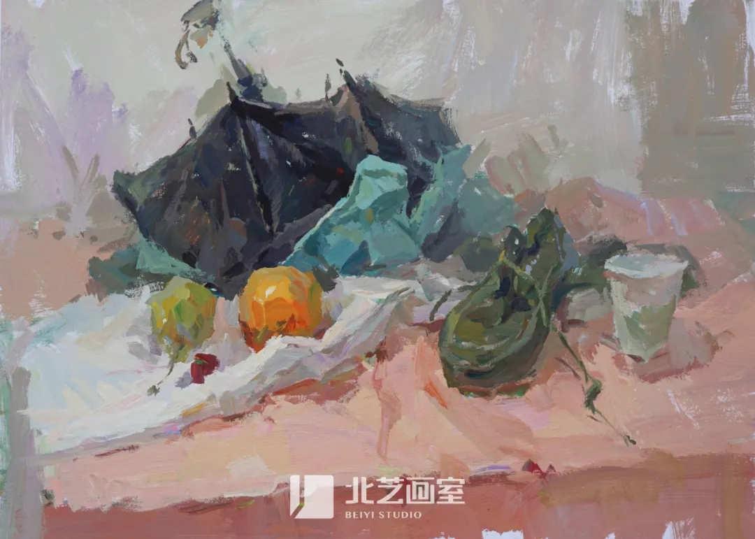 色彩静物作品赏析——雨伞、水果
