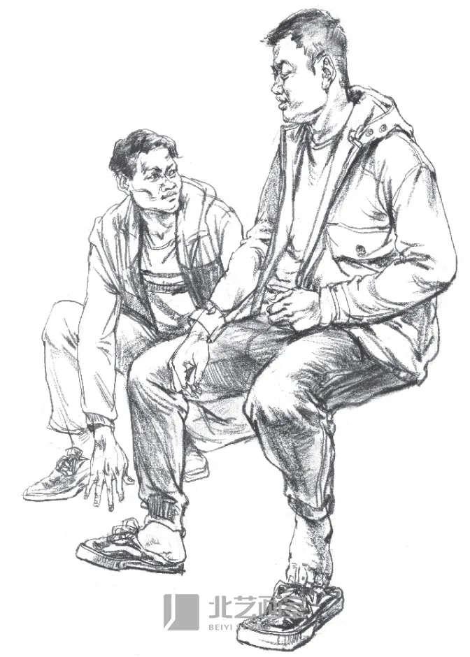 速写人物——老年中年双人坐姿