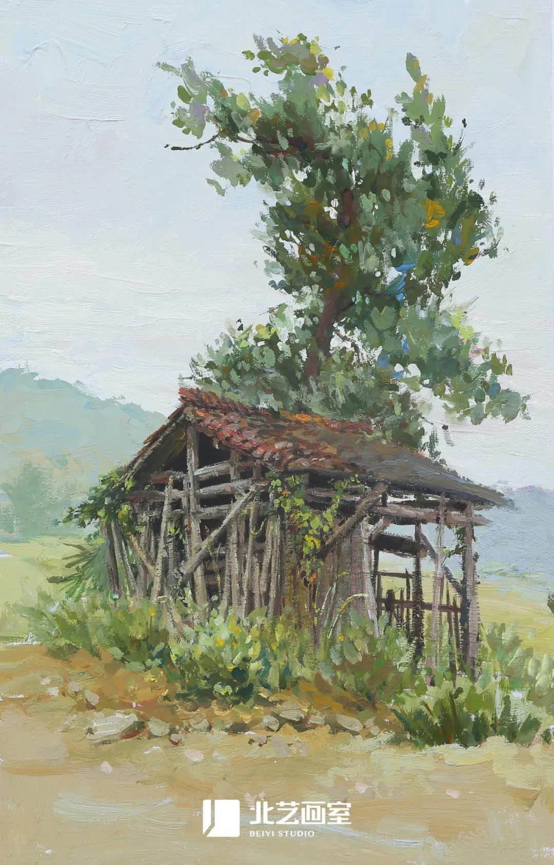 色彩风景作品赏析——树木、房子