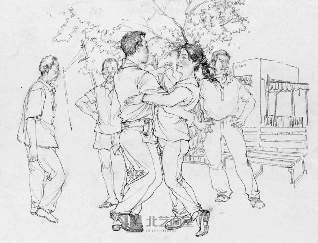 校考场景速写——公园跳舞