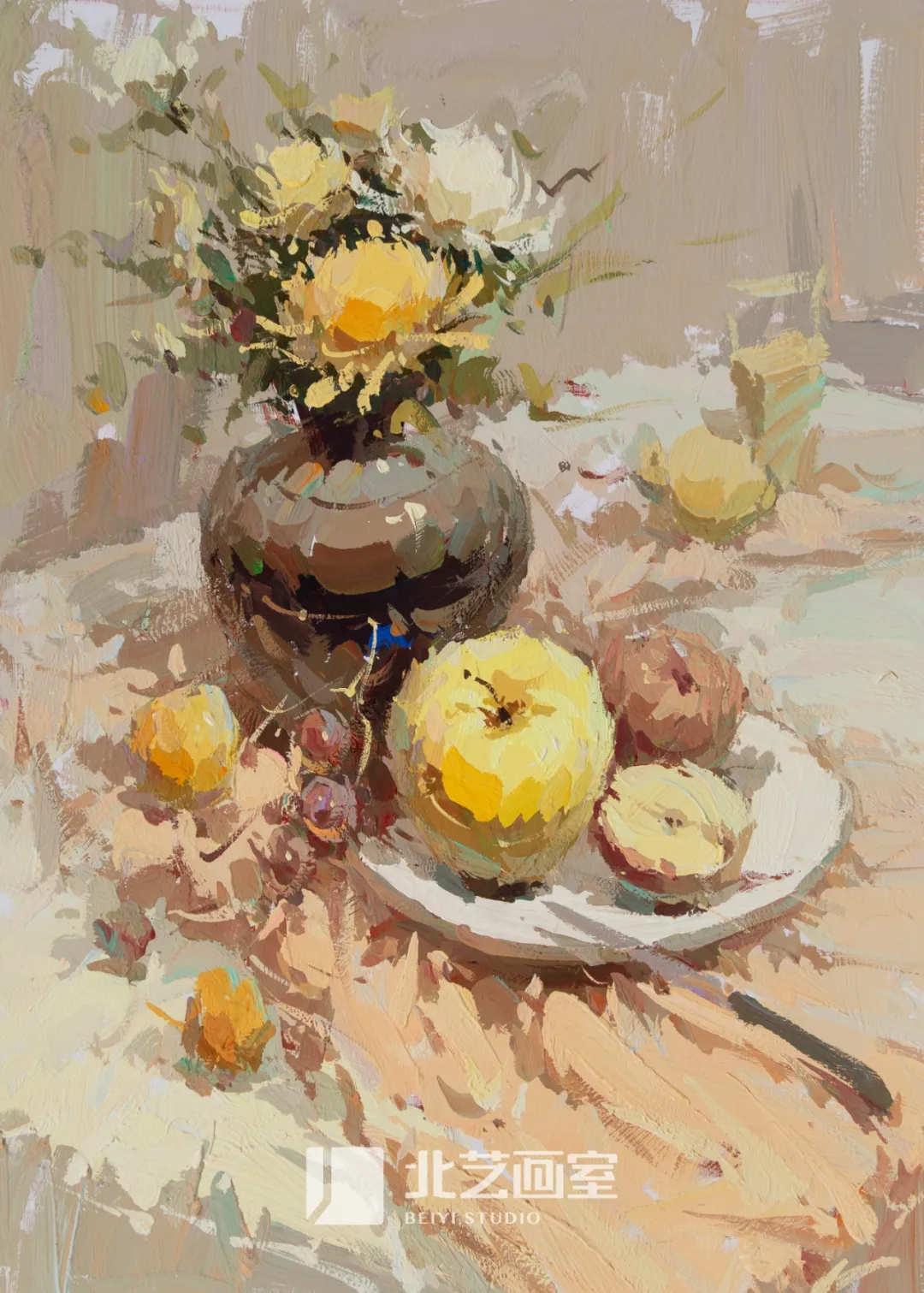 色彩静物作品赏析——花盆、水果、盘子