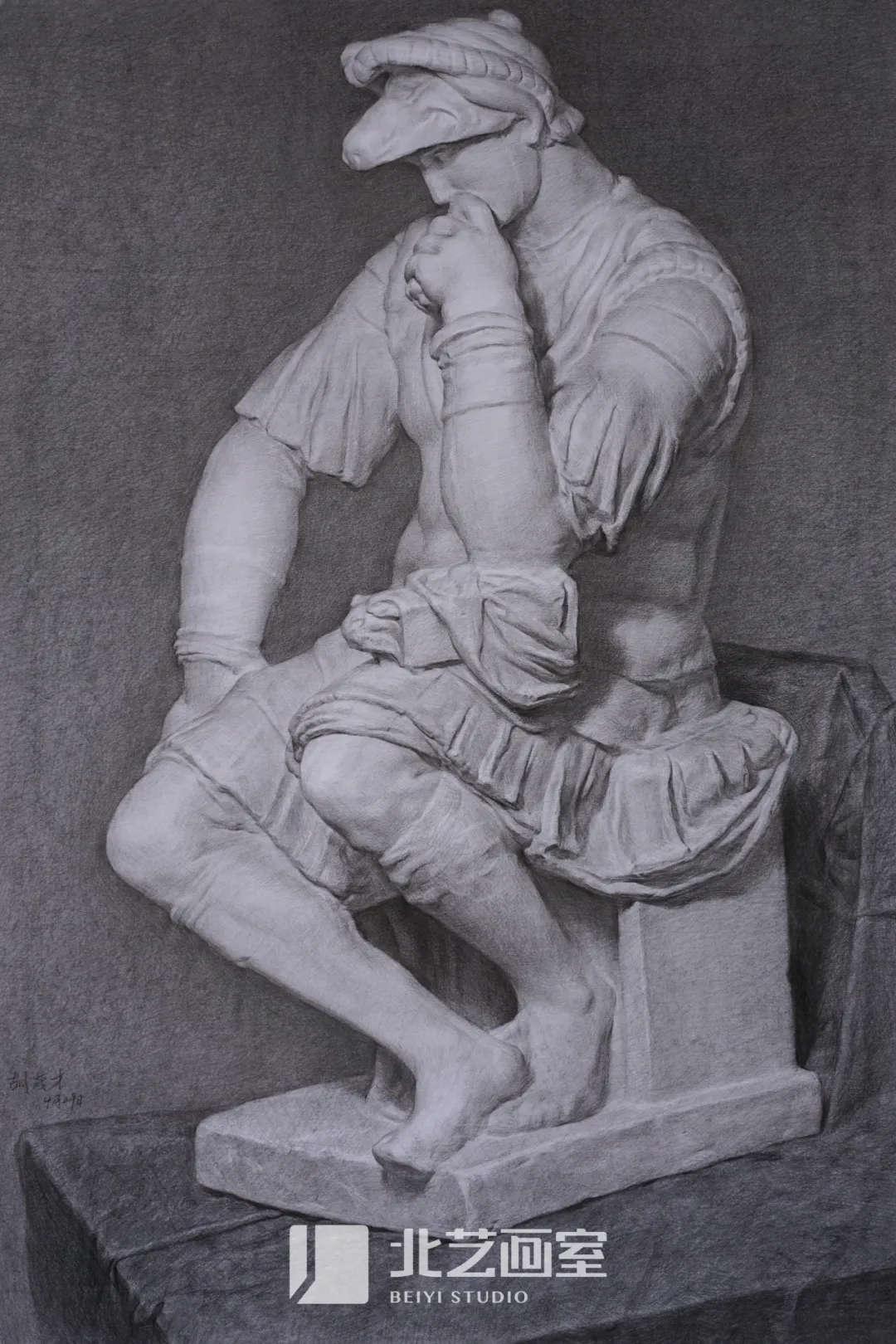 素描石膏像作品赏析——美第奇侧面