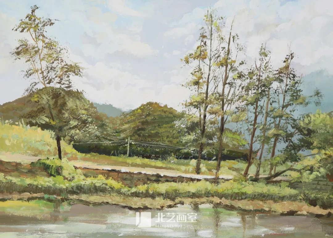 色彩风景作品赏析——小河、电线、树木