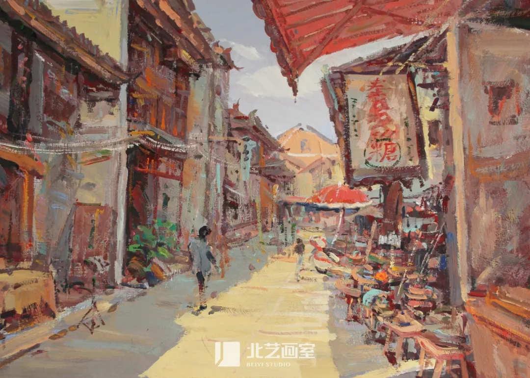 色彩风景作品赏析——古镇