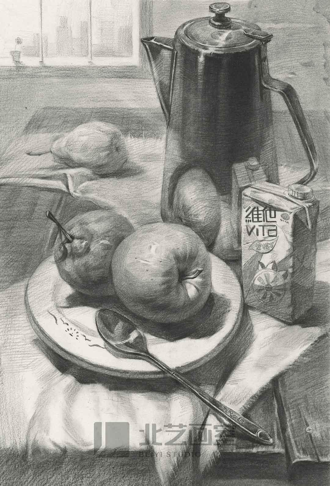 描静物组合作品赏析——石膏像、水果、陶罐
