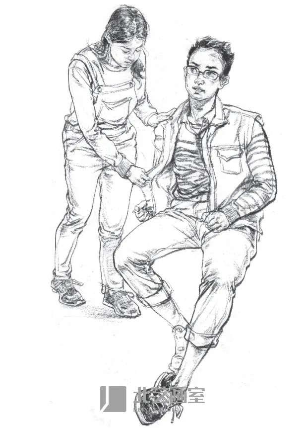 速写人物——男女站坐双人组合