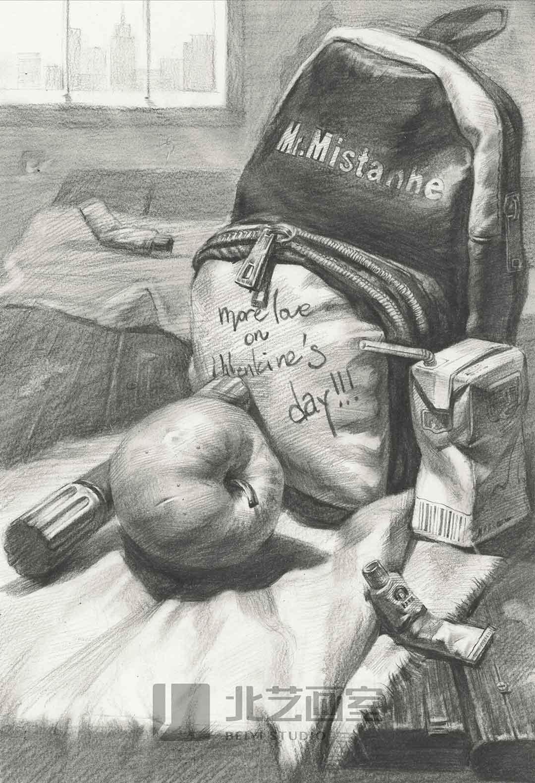 描静物组合作品赏析——书包、牛奶、鞋油、水果