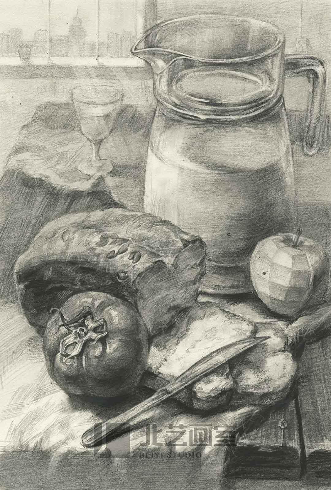 描静物组合作品赏析——牛奶、面包、刀、果蔬