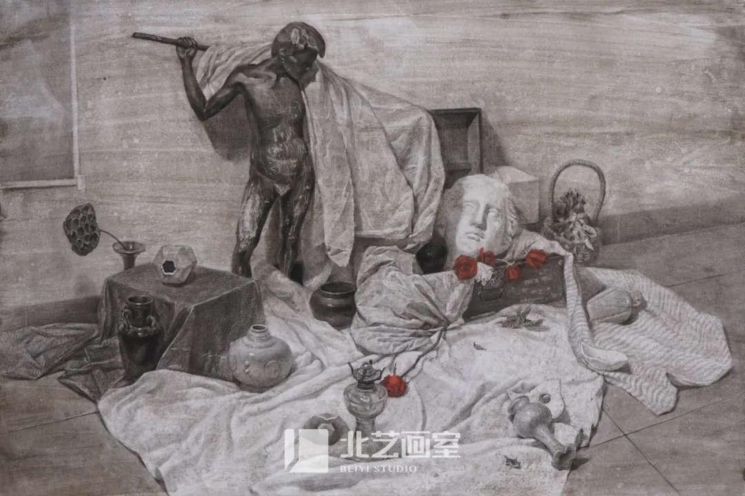 素描静物——石膏头像、雕像、罐子组合训练作品